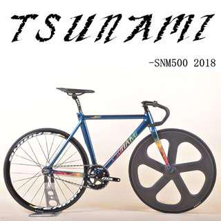 Tsunami SNM500 2018 - Chameleon painting Design, Carbon fork, smooth welding detail, Higher specification