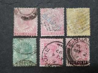 Malaya Straits Settlements 1892-1899 Queen Victoria Up To 24c With Surcharge - 6v Used Stamps
