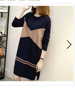 Dual tonned knitted dress