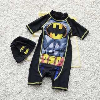 夏季泳裝 / 男童泳衣 蝙蝠俠可拆披風男童三件套泳裝