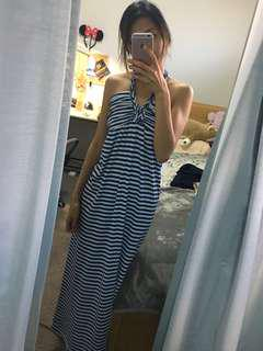Stripes Halter Neck Maxi Dress
