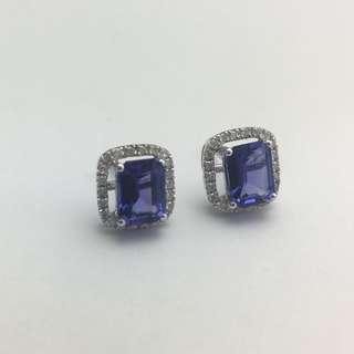 2卡91份坦桑石 24份鑽石 18K白金耳環 18K Withe gold 2.91ct Tanzanite 0.24ct Diamond Earrings 可議價