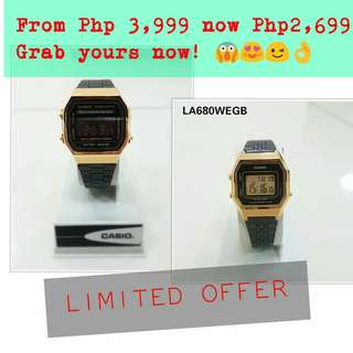 AUTHENTIC La680 A168 wegb casio vintage black gold