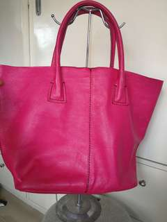leather tote bag with detachable bag inside