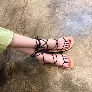 韓國百搭細帶繞腳交叉綁帶鞋女2018夏季夾趾平底羅馬鞋女沙灘涼鞋