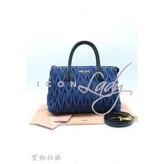 🎉貨貨主減價 👏🏻 👏🏻 MIU MIU 5BB016 Denim Matelasse 深藍色皺褶牛仔布 綴黑色皮革 手挽袋 肩背袋 購物袋 手袋 (HK$7,500 --> 減至--> HK$4,280)