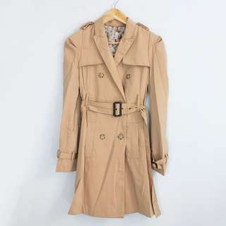 (S-M) Korean Fashion Style Tan Belted Trench Coat Jacket