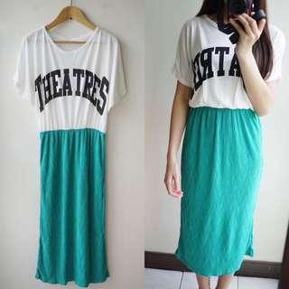 🚚 米白色綠色棉質拼接短袖圓領連身洋裝