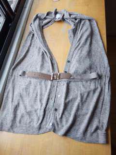 🚚 出清!日本製棉麻披肩長版背心上衣,附腰帶