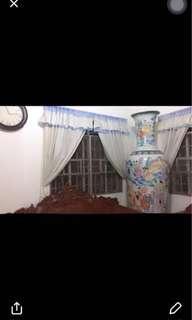blue & white ruffles curtain