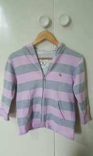 [USED] Abercrombie and Fitch Pink and Gray Striped Hoodie