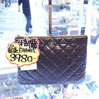 Chanel CC Logo Black Leather Small Size Pouch Clutch Handbag Hand Bag GHW 香奈兒 黑色 牛皮 皮革 經典款 金扣 手抓包 手拿包 小袋 手袋 袋