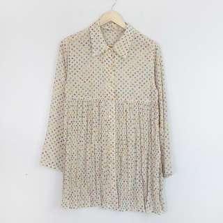 (M-L) Semi-Sheer Longsleeve Summer Floral Dress