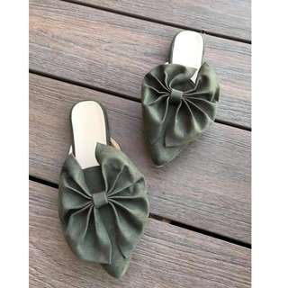 Flat Mules, High-end Quality Half Shoes with Big Ribbon Design