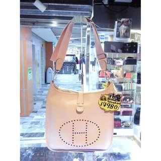 Hermes H Logo Light Pink Togo Leather Evelyne III 33cm GM Size Crossbody Shoulder Bag PHW 愛馬仕 淺粉紅色 牛皮 皮革 經典款 33公分 大號 銀扣 斜揹袋 斜背袋 肩袋 手袋 袋