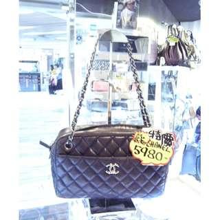 Chanel CC Logo Black Leather Chain Shoulder Handbag Hand Bag 香奈兒 黑色 牛皮 皮革 鍊袋 肩袋 手挽袋 手袋 袋
