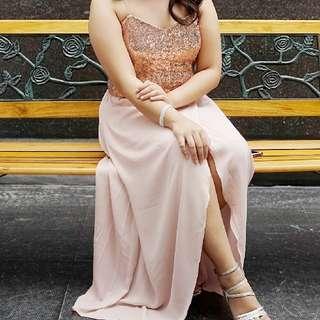 Formal Dress Peach Gold