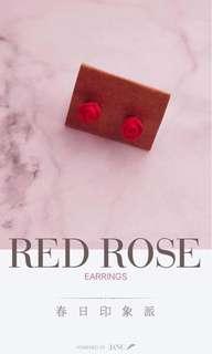 全新 handmade 自家製 氣質 橙紅玫瑰 花 耳釘 耳環