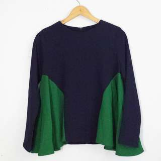 Green & Blue Colorblock Zipped Back Blouse Top