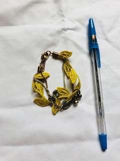 刺繡樹葉手鍊
