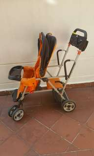 Joovy Caboose Stand-On Tandem Stroller Orange(with baby adapter)
