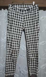 UNIQLO Black & White Pants Checkered