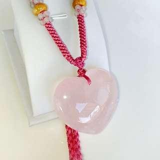 🚚 【粉紅愛心】天然粉晶項鍊