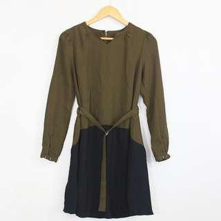 Korean Style Colorblock Olive & Dark Blue Belted Dress