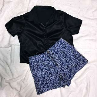 Silk polo crop top- 150 high waisted shorts- 150 ( get the set for Php 250 )