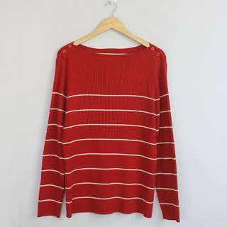 LANE BRYANT Red Striped with Buttoned Shoulder Design Sweater Blouse