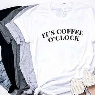 It's Coffee O Clock Unisex Design Tshirt Tee