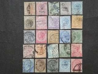 Straits Settlements 1867-1899 Queen Victoria With Surcharge - 25v Used Malaya Stamps