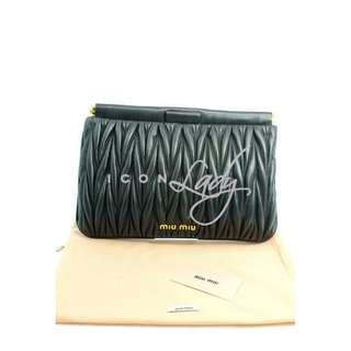 (Sale Promotion) MIU MIU 5N1573 Matelasse 黑色小羊皮皺褶 晚宴袋 手提袋