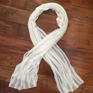 White Striped Sheer Scarf