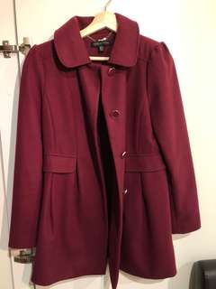 Forever New AUS 10 maroon wool coat