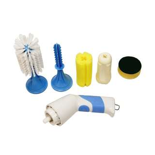 754. Household Powered Dish Scrubber Set, Cordless Portable Electric Kitchen Brush Blue