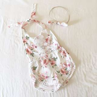 Baby Girl Floral Jumpsuit Set