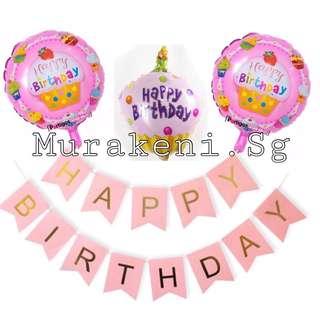 4pc HAPPY BIRTHDAY SET BANNER Cupcake