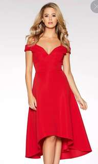 [BNWT] **made in UK** Red Sweetheart neck cold shoulder Dress
