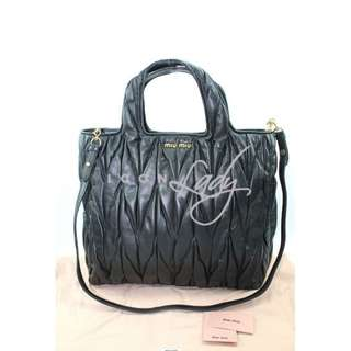 (Sale Promotion) MIU MIU RN0754 NERO Matelasse 黑色皺褶小羊皮 手提袋 購物袋 肩背袋 手袋
