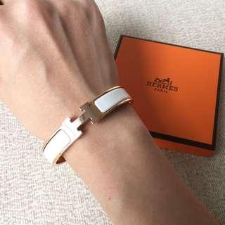 AUTHENTIC HERMES Clic Clac H White Rose Gold Bracelet - GM