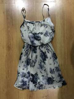 Wet Seal White and Blue Floral Dress