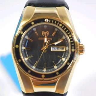 FREE SHIP TECHNOMARINE TM-115388 CRUISE GOLD TONE BLACK LEATHER WATCH