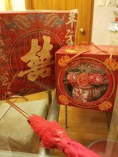 斟茶跪墊、茶杯茶壺套裝、出門紅傘