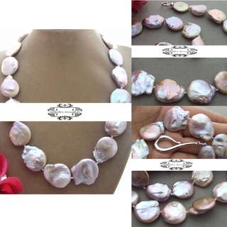 18K Gold Lustrous Genuine Baroque Coin Pearls Necklace . 18K黃金光亮真扁圓巴洛克珍珠項鍊