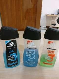 Adidas body hair face shower gel