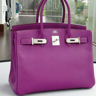 Authentic Hermes Birkin 30 anemone epsom phw stamp R