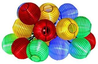 370.Innoo Tech Solar String Lights Lanterns, Outdoor Garden Lights with 20 LED Multi Color Fairy Light with Fabric Lantern Ball Christmas Globle Lights for Path Party