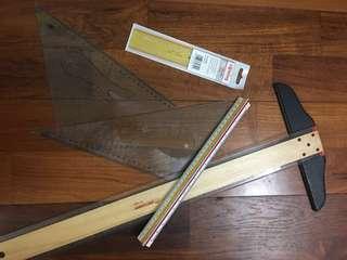Scale ruler/ lettering stencil/ t-square ruler/ set square (preloved)