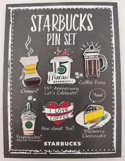 Starbucks Macau 15th Anniversary Pin Set